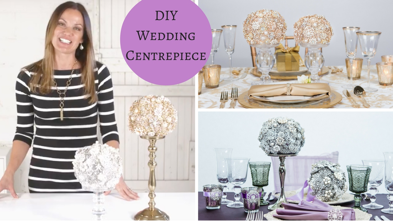 DIY Wedding Tutorial | DIY Wedding Centerpiece | Rhinestone Brooch ...