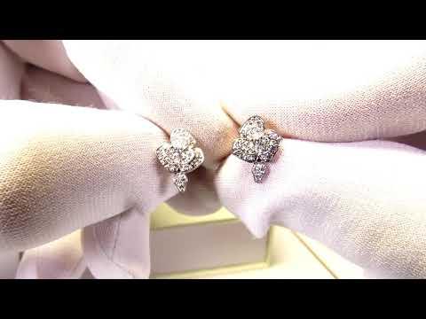 EliteGold - серьги в форме цветочков с бриллиантами с родированием
