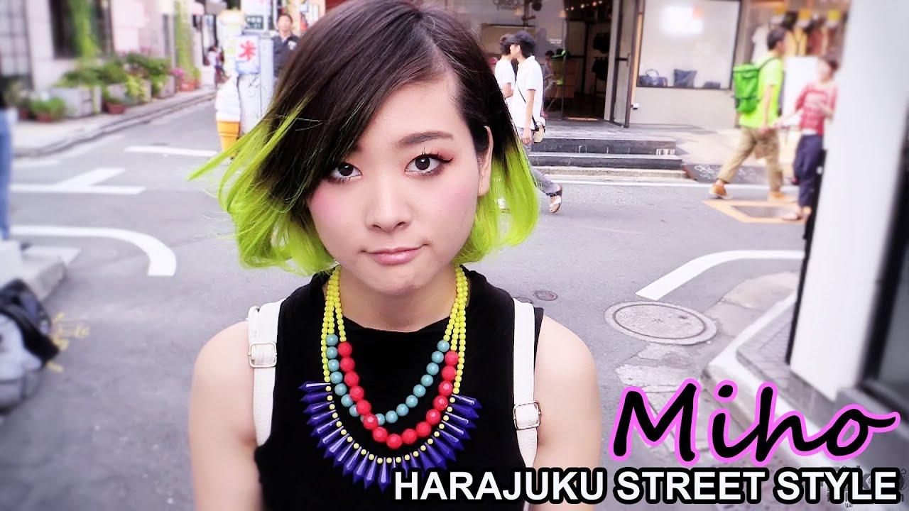 Miho Neon Hair Acid Wash Skirt Statement Necklace Harajuku