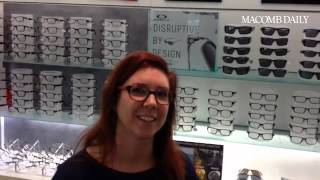 LensCrafter store manager Amy Valenti discusses free eye exam program.
