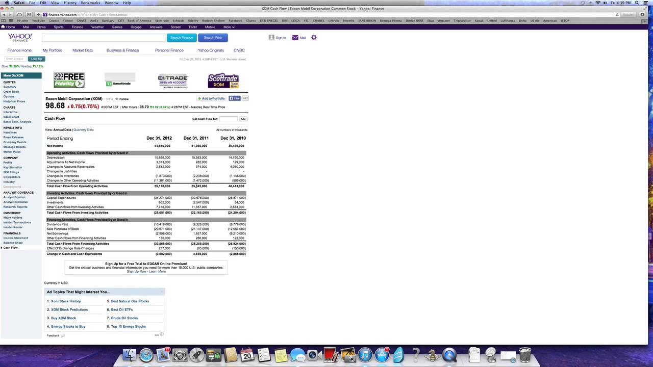 Yahoo Finance Cash Flow Analysis: IBM and Exxon Mobil - YouTube