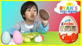 Ryan opens Kinder Surprise Eggs with Toys Inside