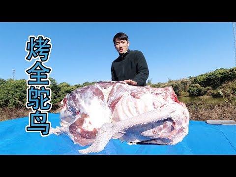 靚仔花費9000元烤了一隻全鴕鳥,160斤沒有專業工具可以烤得熟嗎?【衣谷水原】