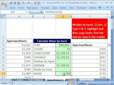 "finance statistic in excel mean mod Review of basic statistics and the the corresponding statistical functions in excel the mean is not the only statistic for measuring a ""typical"" or."