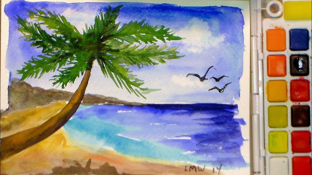 How to paint a tropical beach in watercolor full tutorial for Simple watercolor paintings for kids
