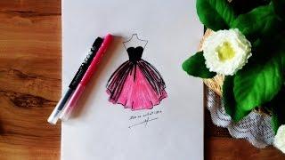 Schwarzes Kleid zeichnen