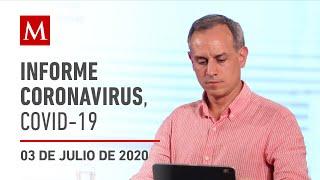 Informe diario por coronavirus en México, 03 de julio de 2020