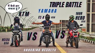 Yamaha Fz-x Bs6 Vs Hero Xtreme 160r Bs6 Vs Ktm RC125 Bs6 Amazing Result   KTM हार गई ?   Ksc Vlogs