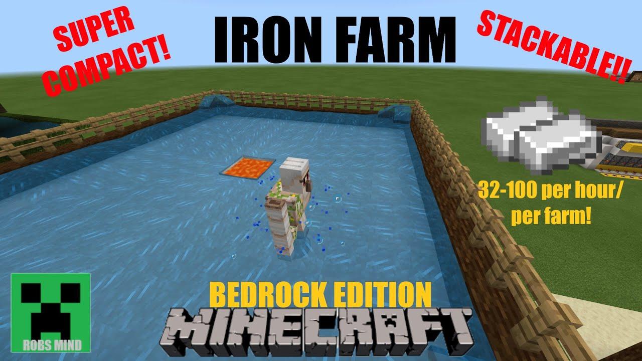 Minecraft Iron Farm Bedrock Edition Not Stackable 1 13 Youtube