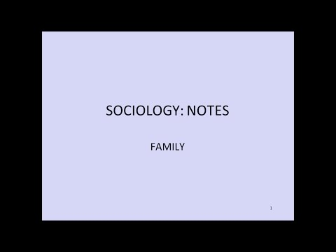 Sociology Crash Course Exam Style Notes: Family