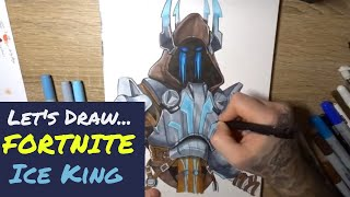 Let's Draw FORTNITE - Ice King skin - Speed Drawing