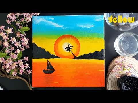 Easy Sunset Landscape Painting tutorial for beginners || Step By Step Sunset Acrylic Painting