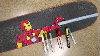Iron Man Skateboard Griptape Art Time Lapse!