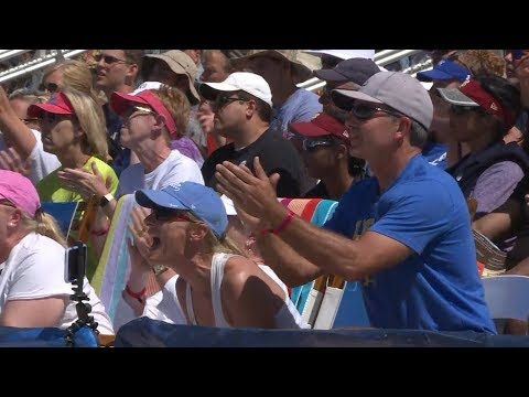 Sean McNamara, father of Nicole and Megan, gets mic'd up during NCAA beach volleyball final