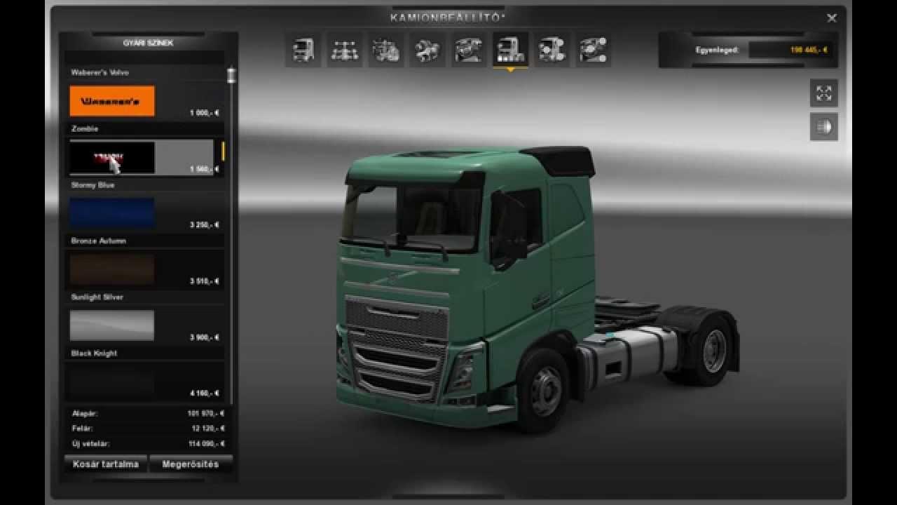 Euro Truck Simulator 2 Kamion Vétel Tuning Sofőr