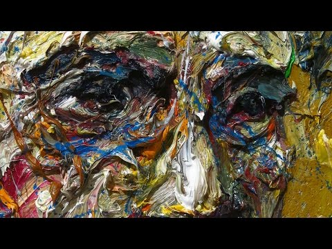 m954 - original oil painting vintage impressionist art realism arts portrait impasto man outsider