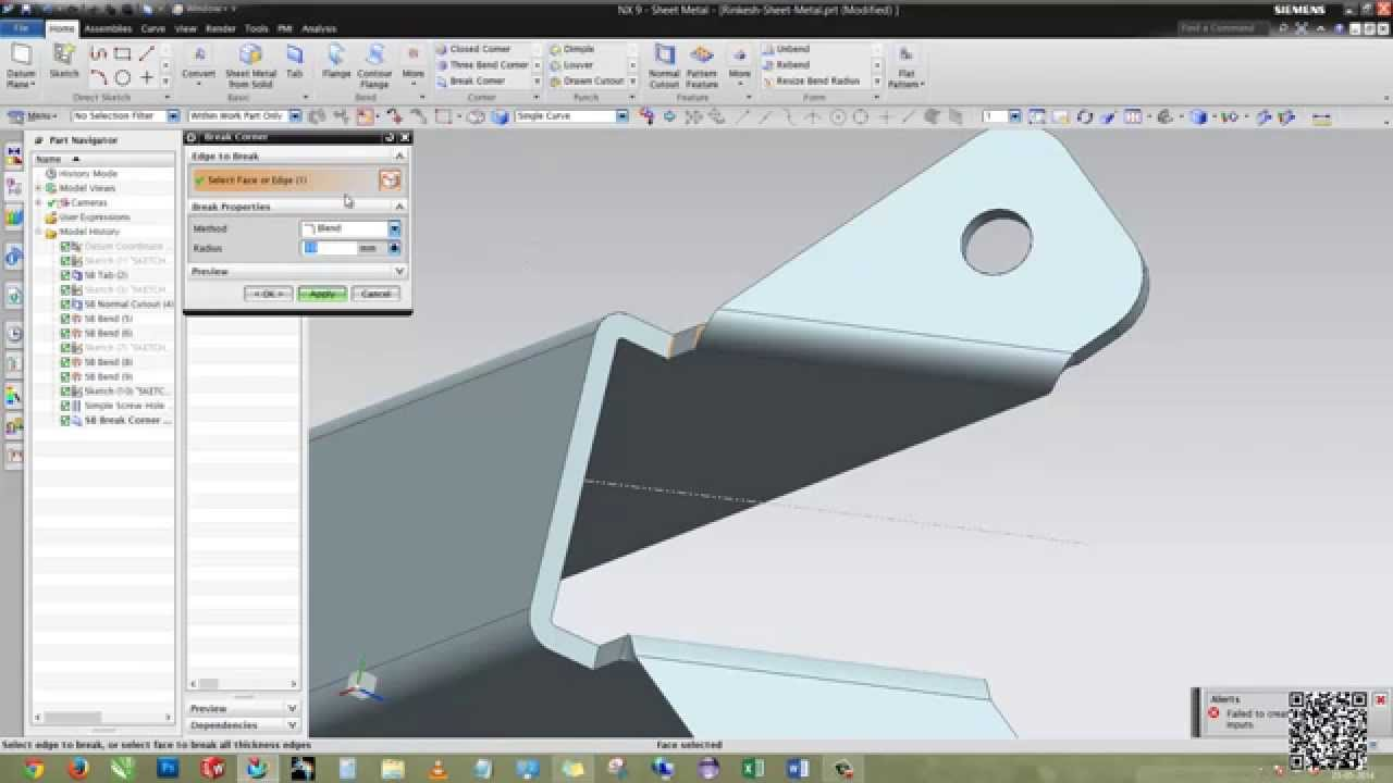 Siemens Nx Sheet Metal Design Youtube