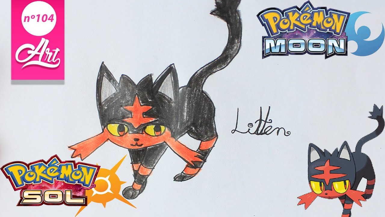 como dibujar a litten   Pokemon sol y luna   Videos de ...
