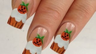 Nailart Design Tutorial Halloween pumpkin-cupcake // Kürbis Muffin 1/4