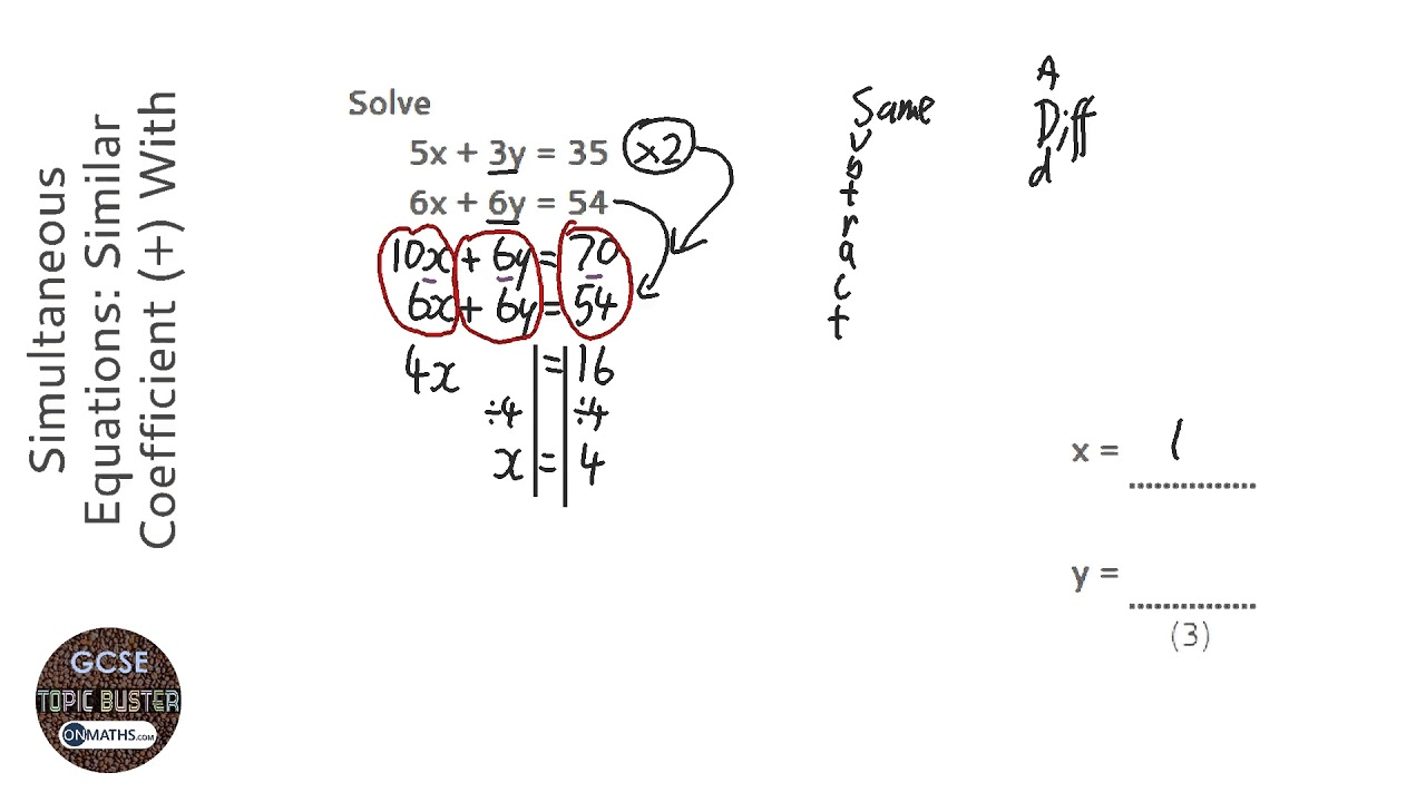 Simultaneous Equations: Similar Coefficient (+) With