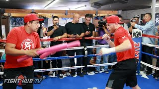 Canelo Alvarez shows fast feet & reflexes shadow boxing at media workout- Canelo vs Smith Video
