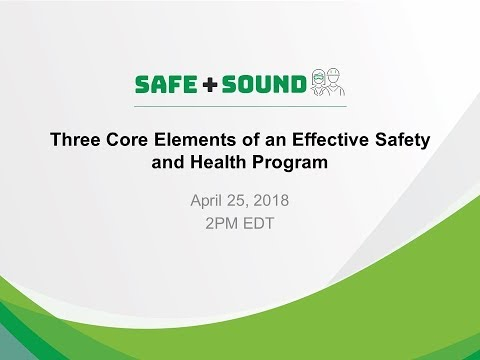 Webinar—Three Core Elements of Effective Safety and Health Programs