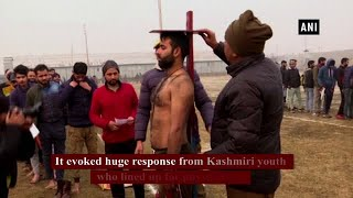 J&K: Youth line up for railway police recruitment drive in Srinagar