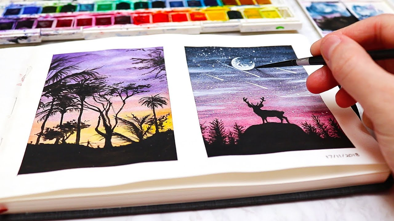 Easy Watercolor Painting Ideas For Beginners Watercolor Silhouette