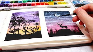 EASY WATERCOLOR PAINTING IDEAS FOR BEGINNERS! Watercolor Silhouette Paintings