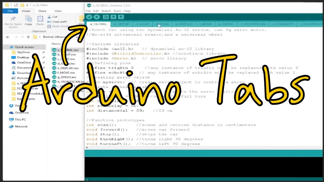 How to Organize your Code using Multi File Tabs on the Arduino IDE
