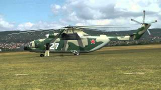 Mil Mi-26 startup and takeoff at Budaörs airfield (with ATC, in temporary paint scheme)