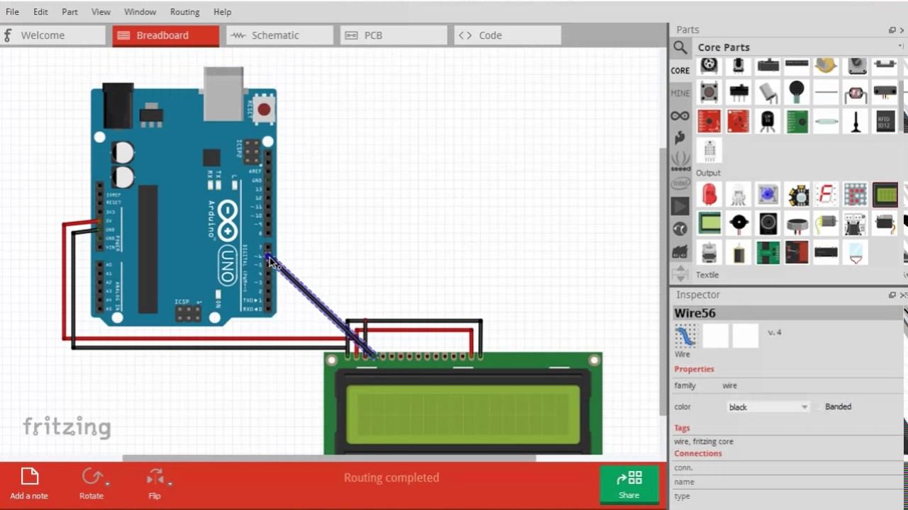 New FRITZING LCD interface with arduino uno