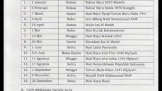 SKB No.617, 262 & 16 Th 2018 Tentang Hari Libur Nasional dan Cuti Bersama 2019 (MHI)
