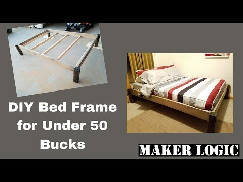 DIY Wood Bed Frame under 50 bucks!!