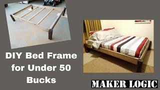 DIY Wood Bed Frame under 50 bucks!!