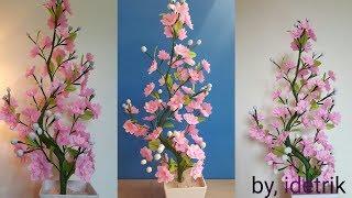 Cara Membuat Bunga Plastik kresek | Beautiful flower craft from crackle plastic
