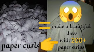 How to draw a beautiful girl dress with 200+ paper strips//girl dress DIY//