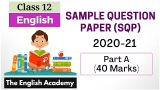 CBSE Class 12 English Official Sample Question Paper Part A Solutions Objective type 40 Marks