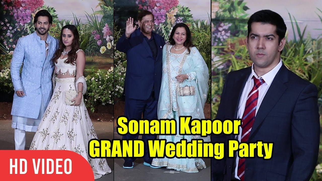 Dhawan S Family At Sonam Kapoor Grand Wedding Party Varun David Rohit