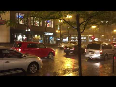 Rainy night at Target, State street, Chicago, IL, USA