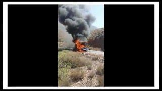 حريق حافلة للنقل العمومي بين سيدي إفني و كلميم