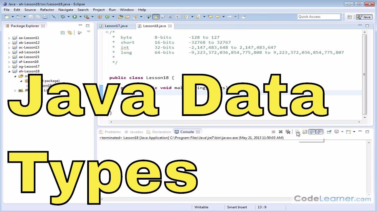 18 - More Integer Data Types (Int, Byte, Short, Long) in Java