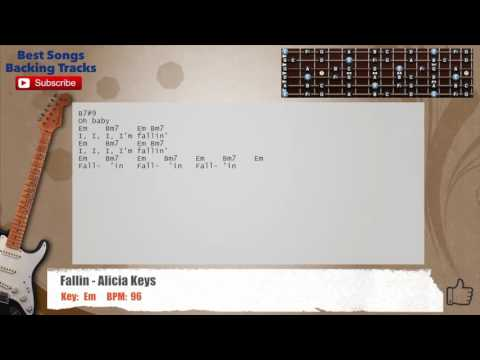 Fallin - Alicia Keys Guitar Backing Track with chords and lyrics