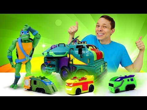 Черепашки Ниндзя - Новая база для героев! – Видео игры с машинками в Автомастерской