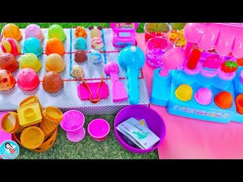 รีวิวของเล่นไอติม เปิดร้านไอติมบุฟเฟ่ ตุ๊กตาเจ้าหญิง บาร์บี้  Toy Ice Cream Shop Playset