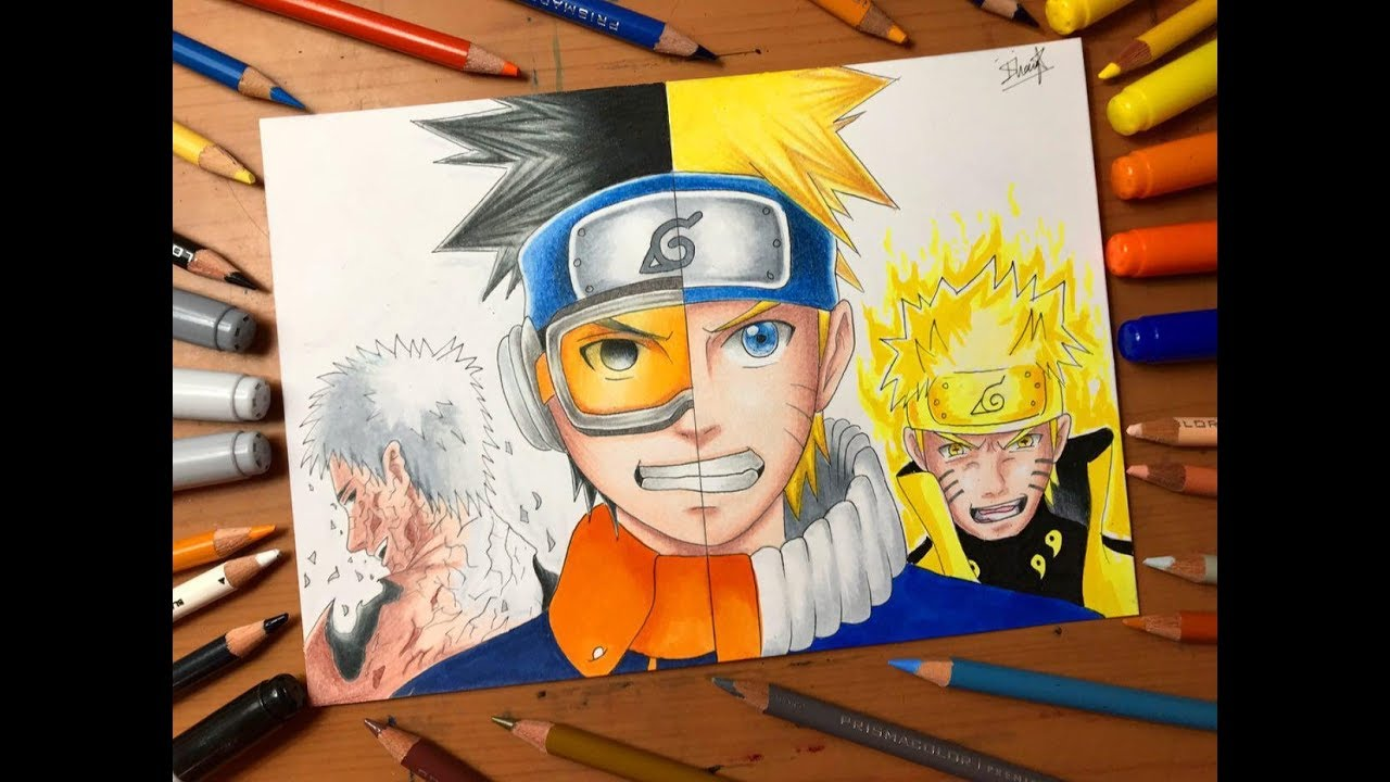 Speed Drawing Naruto Uzumaki Vs Obito Uchiha Naruto Shippuden Hd Youtube
