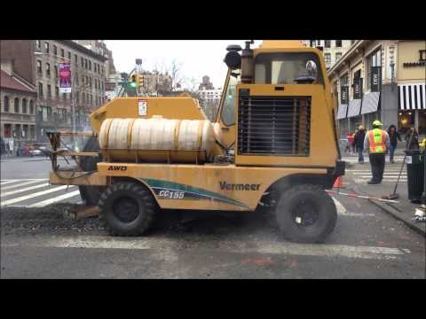 HEAVY CONSTRUCTION MACHINERY ON THE UPPER WESTSIDE OF MANHATTAN IN NEW YORK CITY.