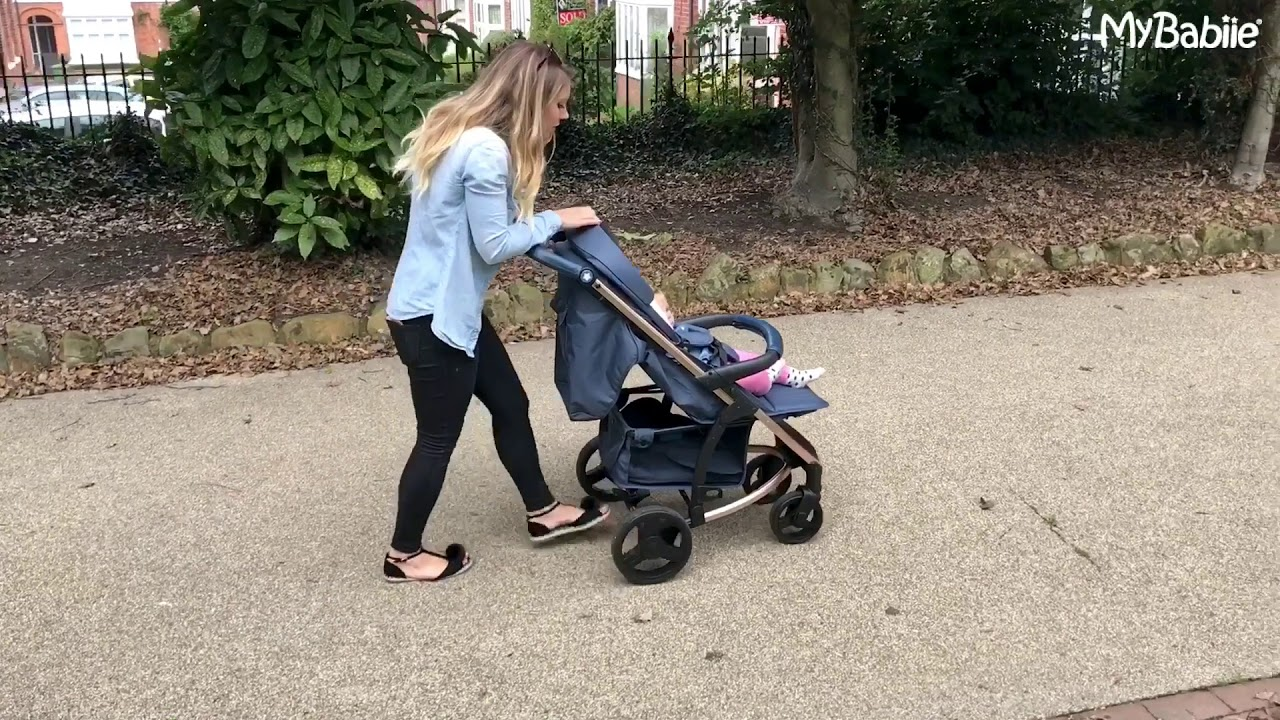 My Babiie MB200 From Birth Baby Pushchair Pram Navy and Rose Gold