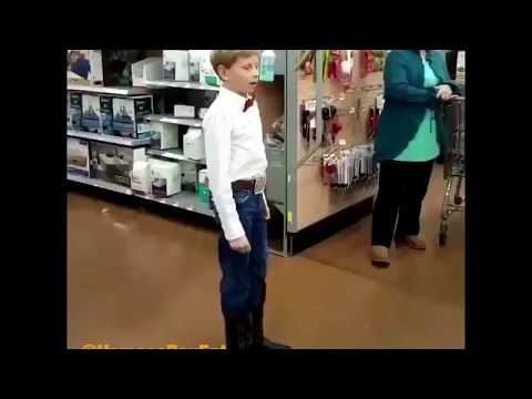 Boy dressed as Cowboy sings  Lovesick Blues in Wal-Mart