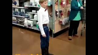 Download Video Boy dressed as Cowboy sings  Lovesick Blues in Wal-Mart MP3 3GP MP4